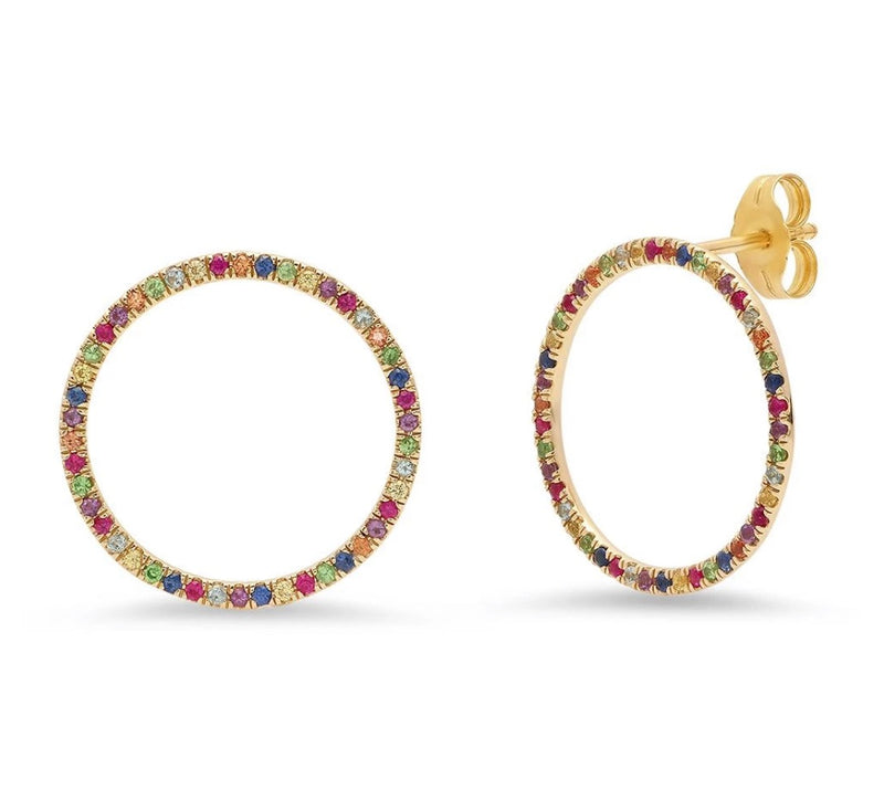 Eriness Yellow Gold Multi Colored Loops