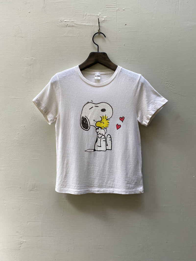 RE/DONE Classic Tee Snoopy and Woodstock Love - Vintage White