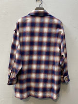 Pharaoh Laura Oversized Shirt Jacket - Navy Burgundy Plaid