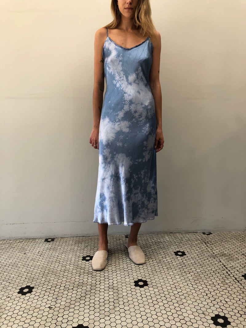 Pharaoh Farrah Slip Dress Vintage Satin - Blue Tie Dye