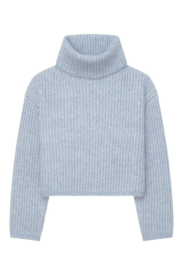 Thakoon Cropped Ribbed Turtleneck Sweater - Light Blue