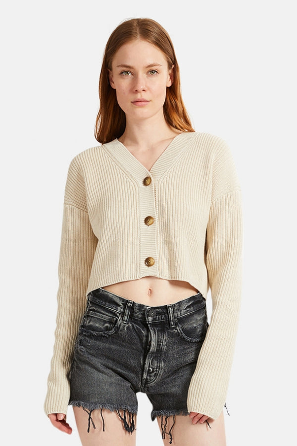 Moussy Rib Stitch Cardigan - Ivory