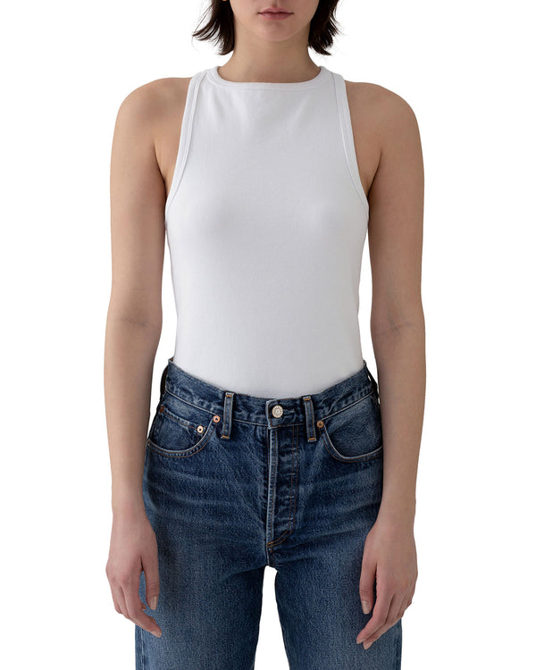 AGOLDE Rib High Neck Tank - White