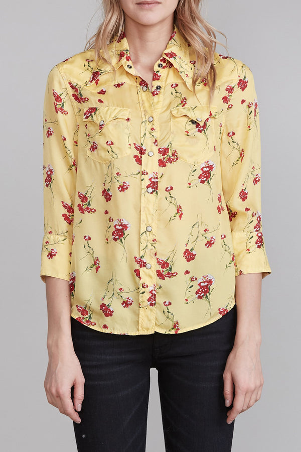 R13 Exaggerated Collar Cowboy Shirt - Yellow Floral