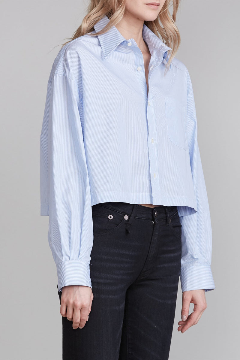 R13 Oversized Cropped Pinstripe Button Up Shirt - Light Blue