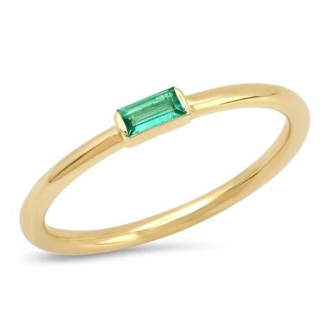 Eriness Emerald Baguette Solitare Ring