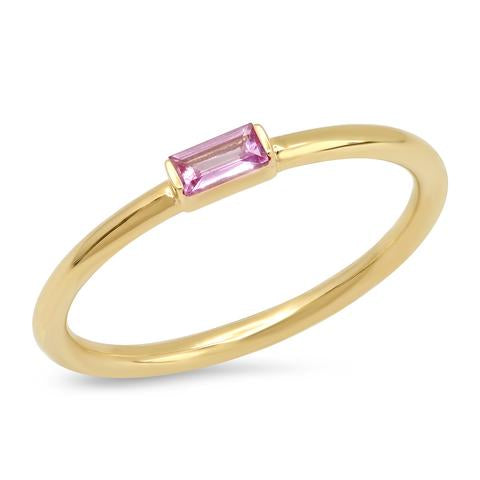 Eriness Pink Sapphire Baguette Solitare Ring