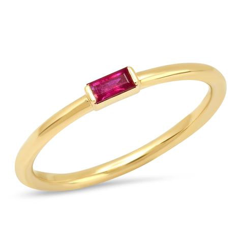 ERINESS RUBY BAGUETTE SOLITARE RING