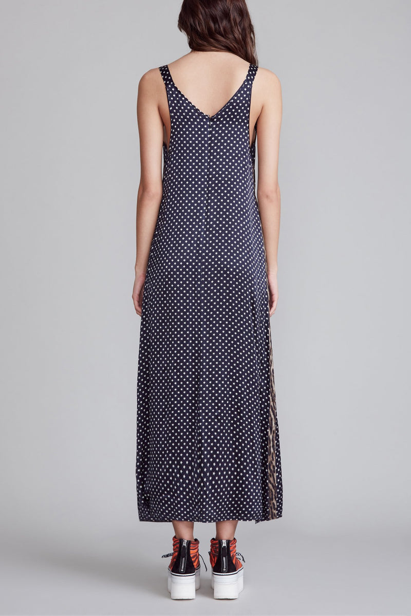 Long Wide Slip with Side Stripe - Navy Star with Leopard