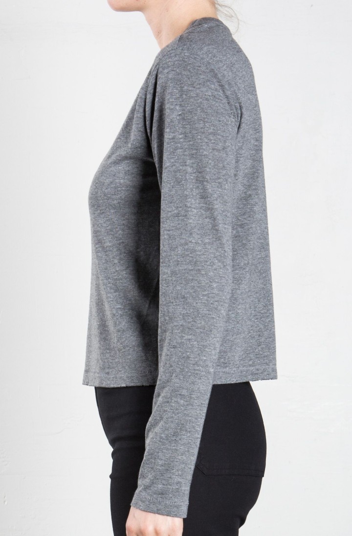 Pharaoh Drea Long Sleeved Destroyed Tee - Heathered Grey