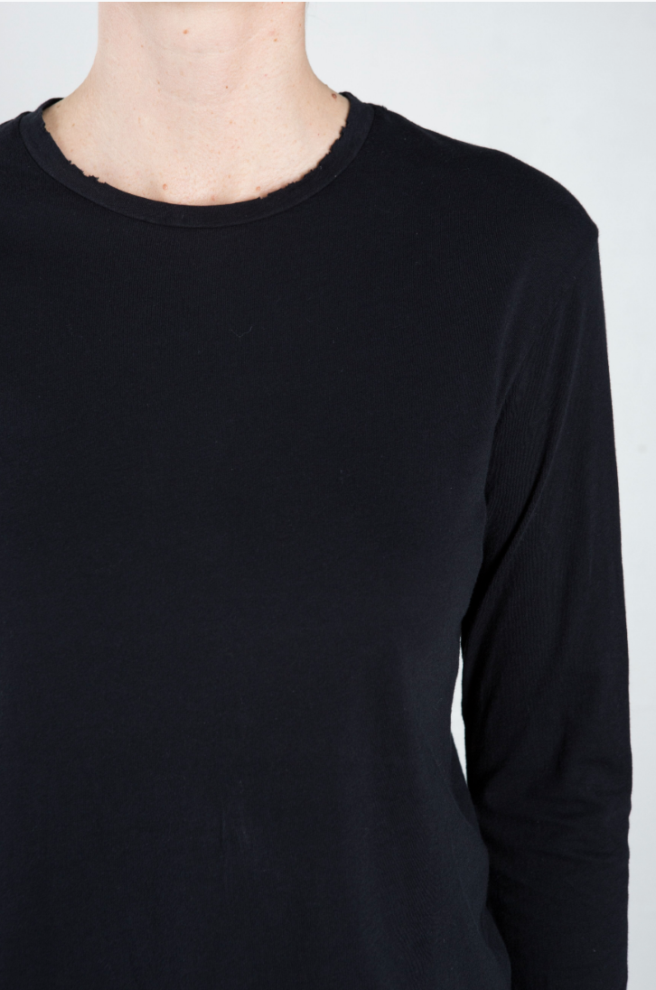 Drea Long Sleeved Destroyed Tee - Black