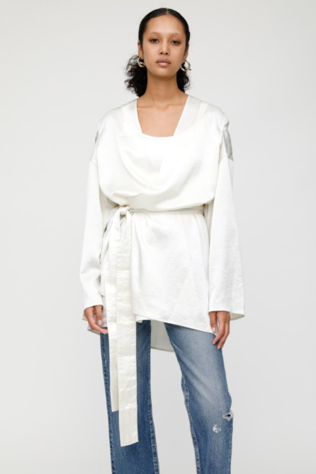 Moussy Middle Gown Satin Robe - Ivory