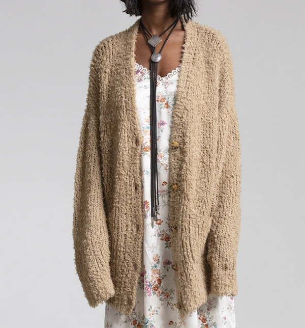 R13 Teddy Bear Cardigan - Oatmeal