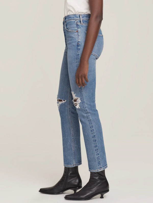 AGOLDE Riley Hi-Rise Straight Crop Jean - Whiplash