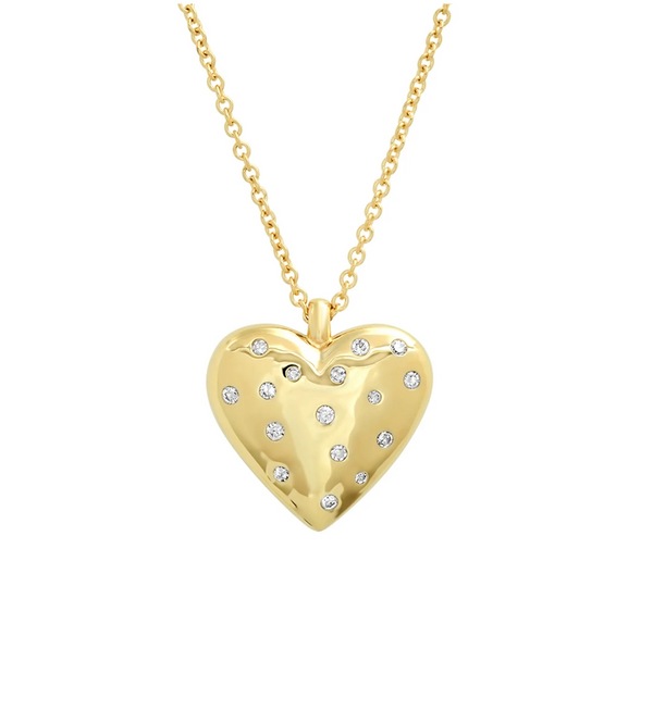 Eriness Yellow Gold Large Reversible Diamond and Gold Puffy Heart Necklace