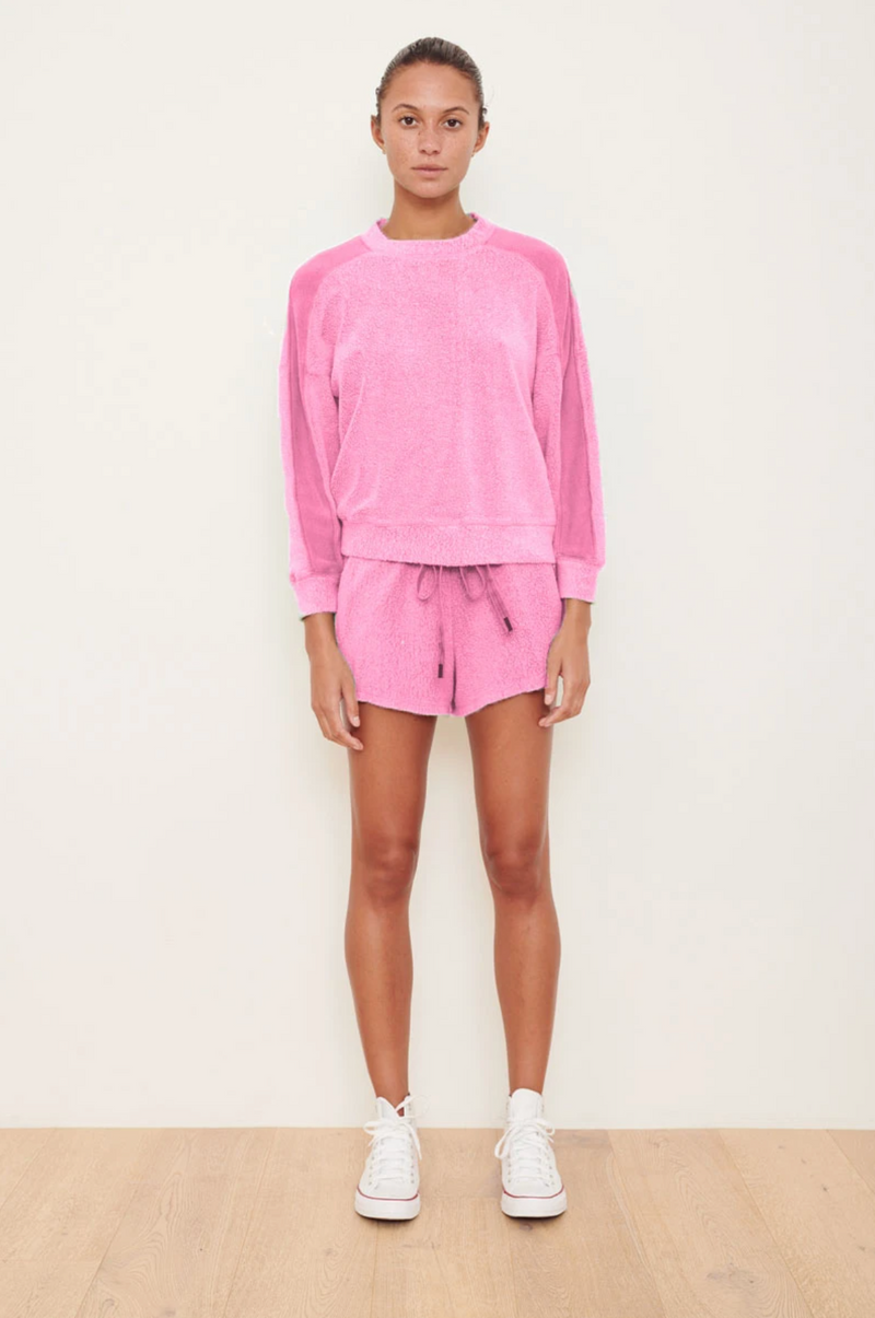 Stateside Sherpa Panel Sleeve Sweatshirt - Neon Pink