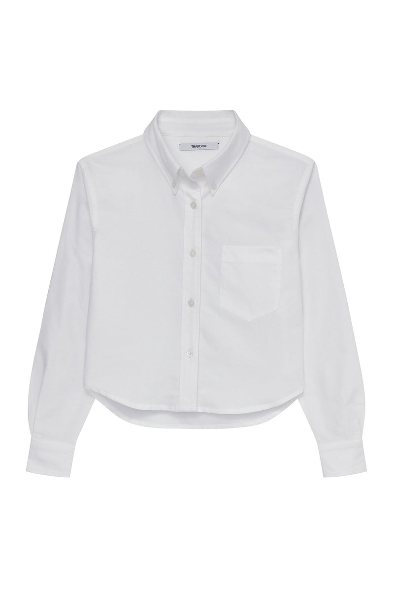 THAKOON - CROPPED OXFORD SHIRT WHITE