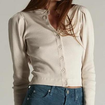 AMO Puff Sleeve Cardigan - Off White