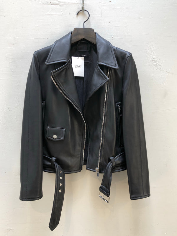 LTH JKT - MAR BELTED BIKER - BLACK