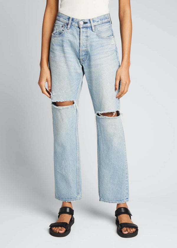 Moussy MV Teaneck Wide Straight-Leg Jean - Light Blue