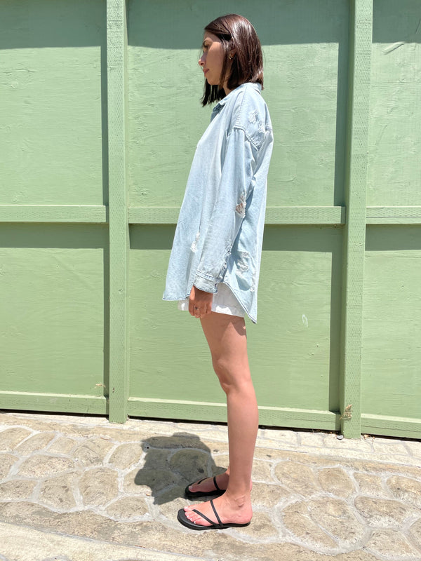 NSF Amada Boyfriend Button Down Shirt in Blue Jay