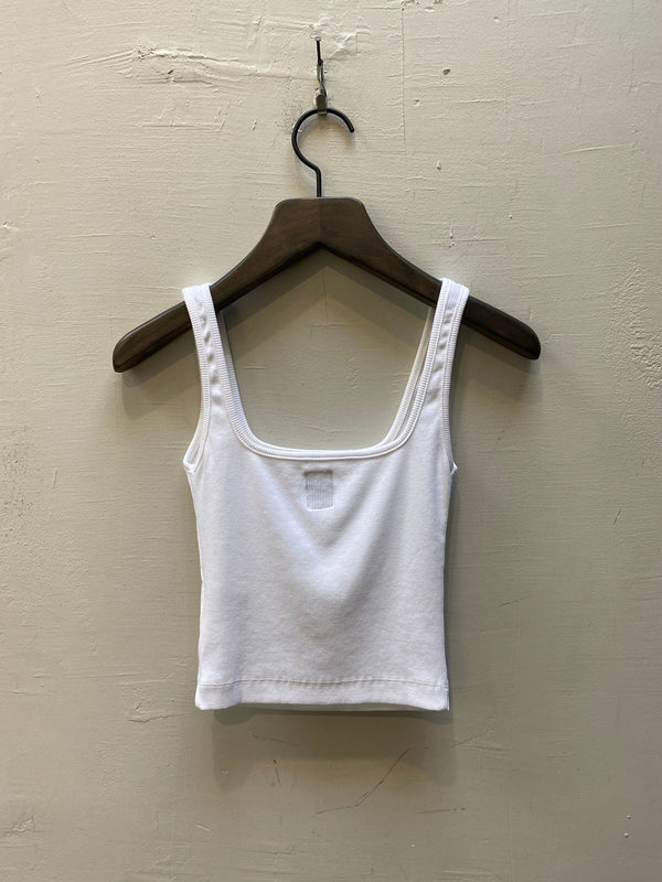 NSF Mira Square Neck Crop Tank - White