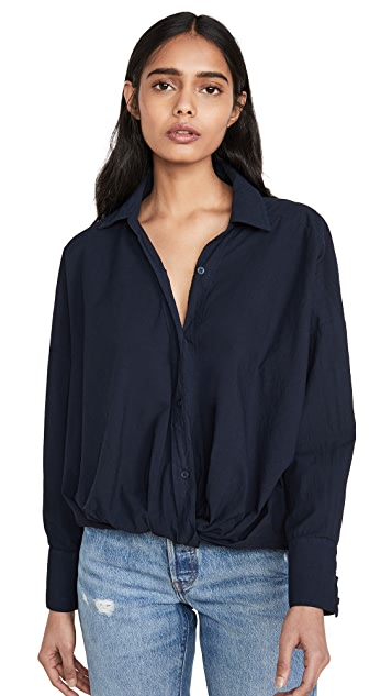 Stateside Poplin Twist Front Shirt - Long Sleeve - Navy