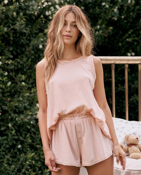 The Great Lace Slouch Sleep Tank - Rose Dust