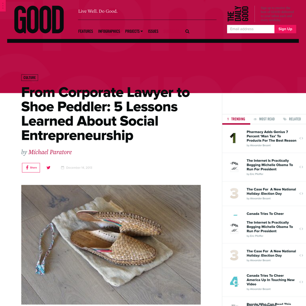 GOOD Featured Contributor |  From Corporate Lawyer to Shoe Peddler