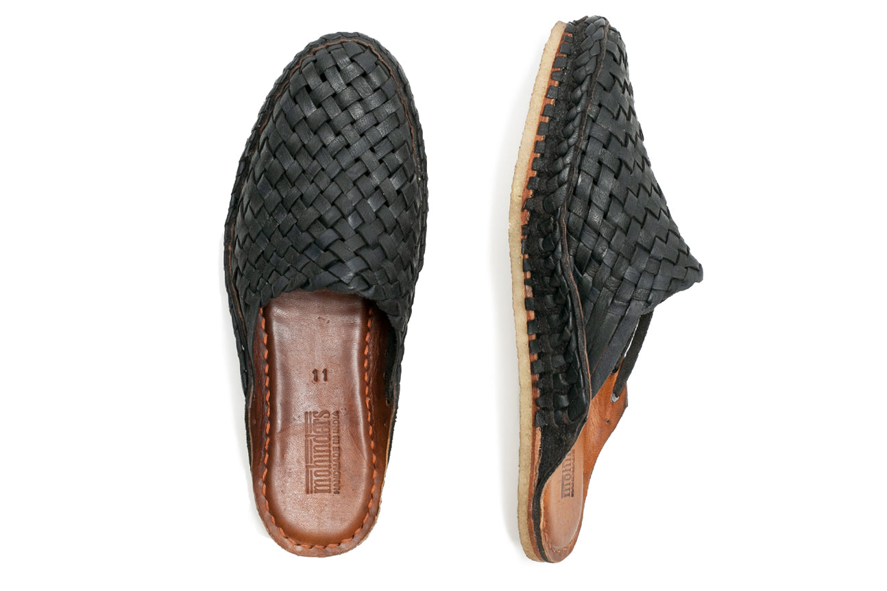 Woven City Slipper / Iron-dyed Leather