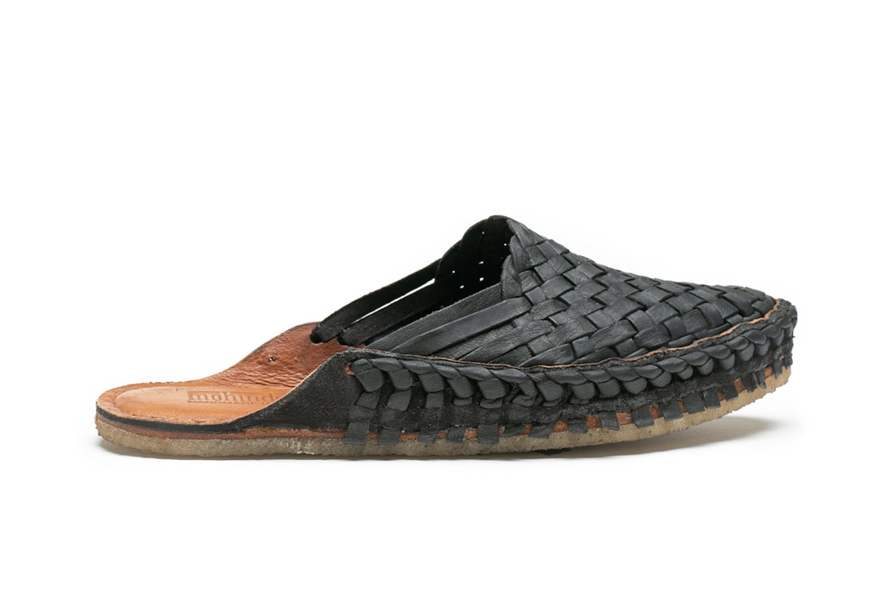 Woven Slide / Iron-dyed Leather