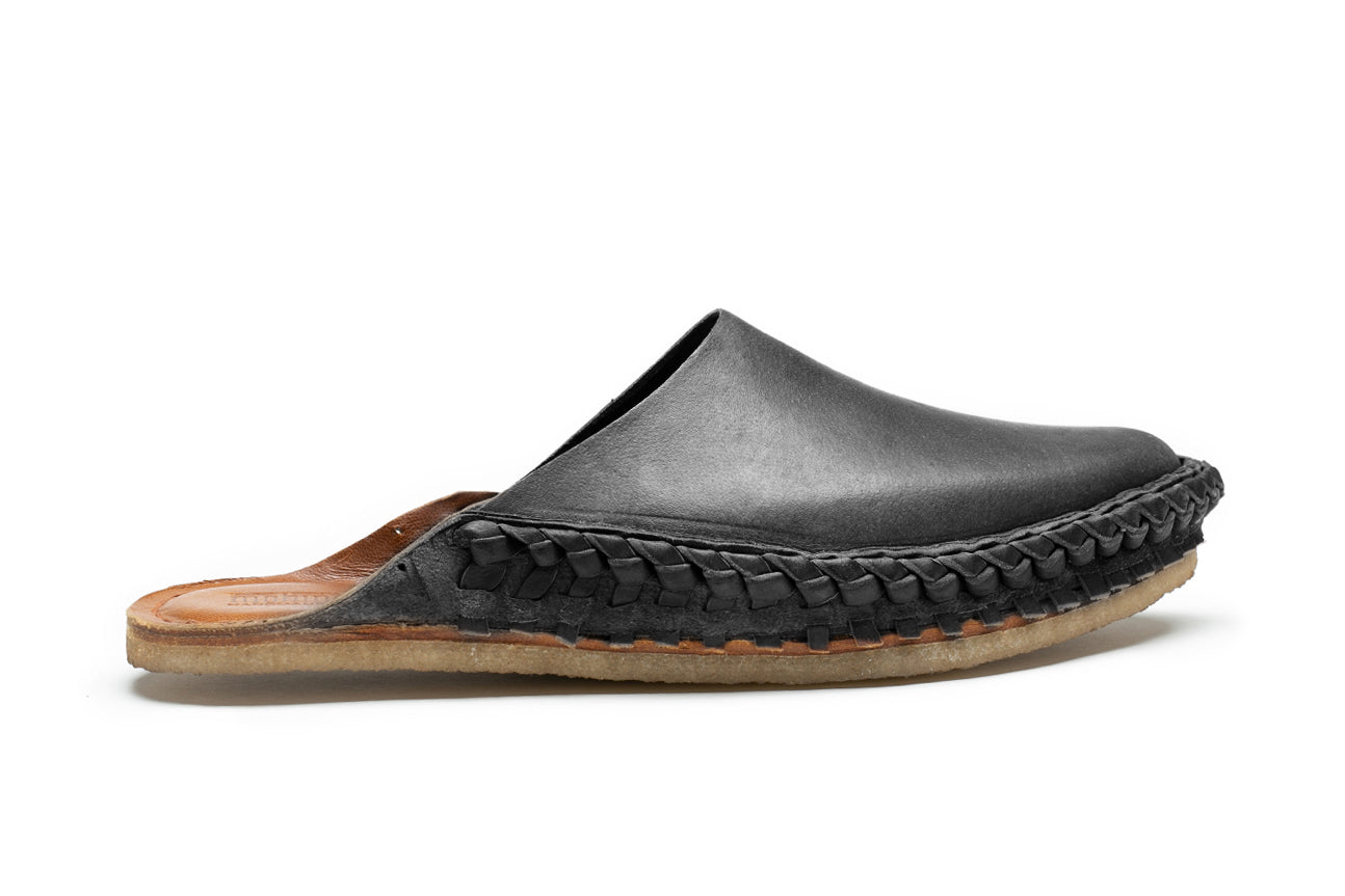 Solid City Slipper / Iron-Dyed Leather