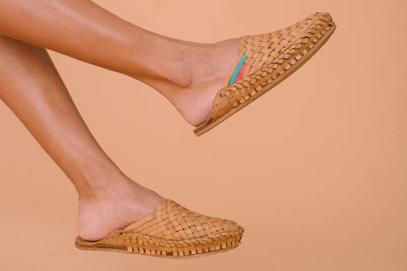 Woven Slide / Natural Leather + Stripes