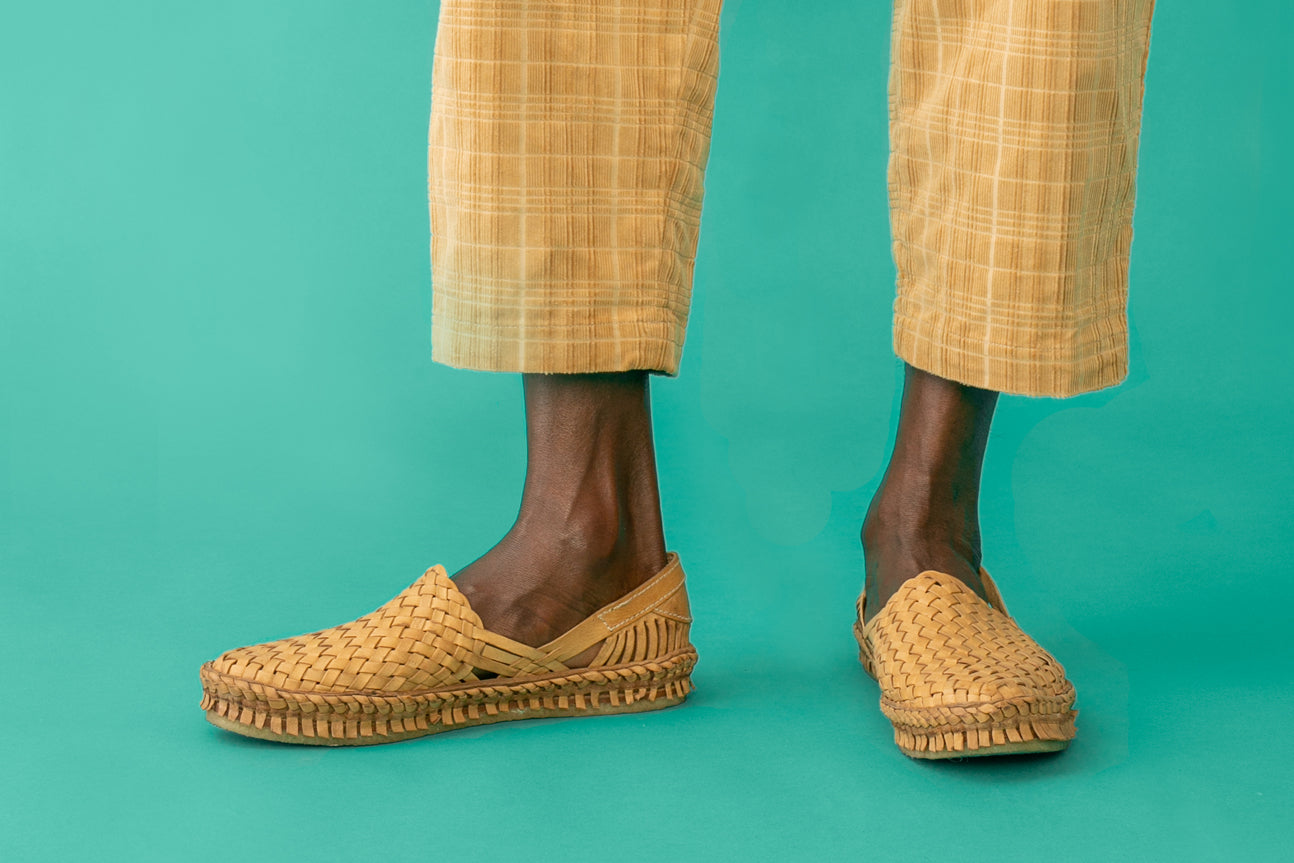 Woven Shoe / Natural Leather + Stripes