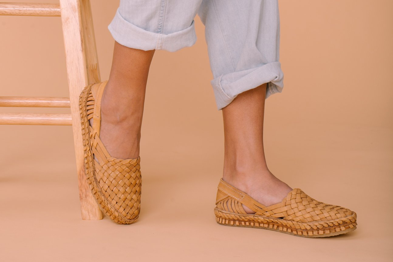 Woven Flat / Natural Leather