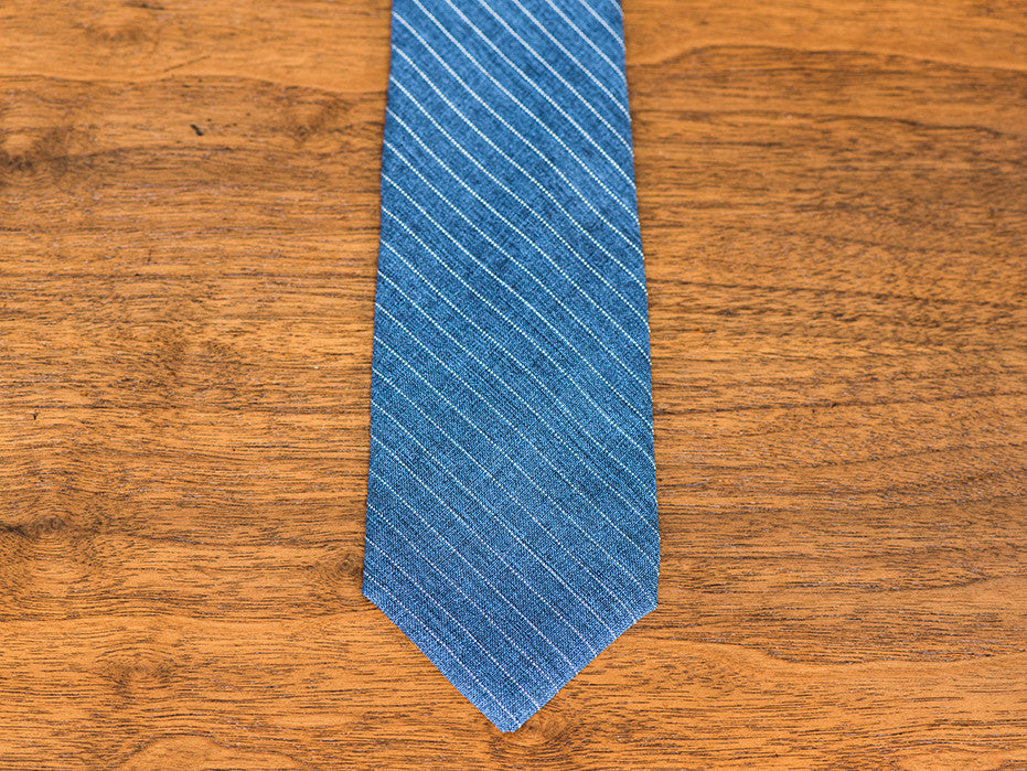 The Chancellor Blue Striped Textured Tie