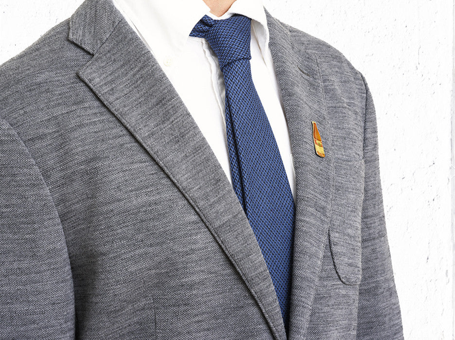 Executive Micro Tile Tie In Deep Blue