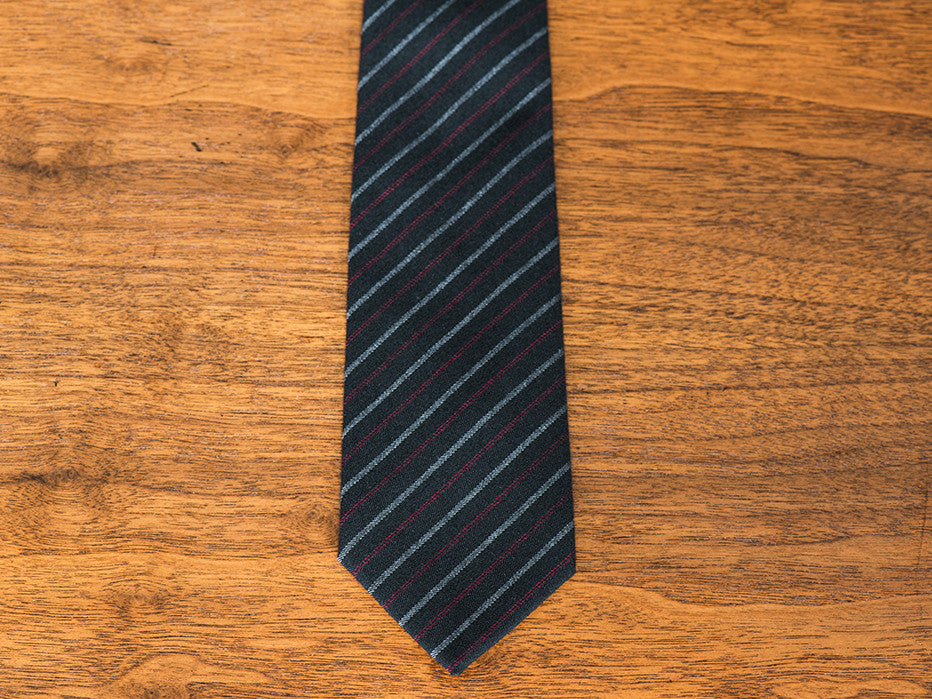 Goth Accountant Black/Red Striped Tie