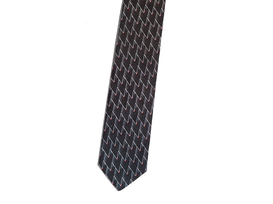 Jacques II Stepping Razor Patterned Skinny Tie