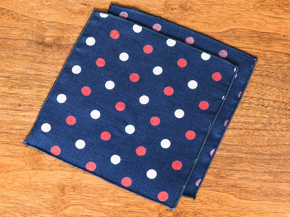 True Vintage Red and Blue Polka Dot Jacques-Et Square