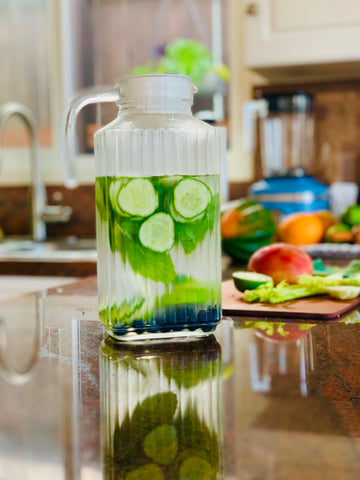 This pitcher of fat-burning detox water contains cucumbers, mint, blueberries and lime.
