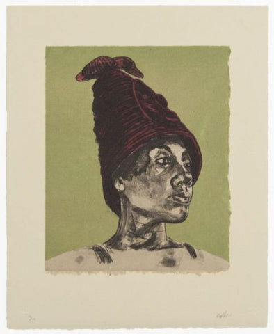 "Robert Pruitt, Untitled, 2014, three-color lithograph with handcolor and chine-collé, edition of 20, paper size: 15.5"" x 12.75"""