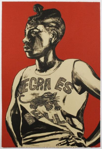 "Robert Pruitt, ""Negra Es Bella"", 2014, two-color lithograph, edition of 20, paper Size: 37.5"" x 26"""