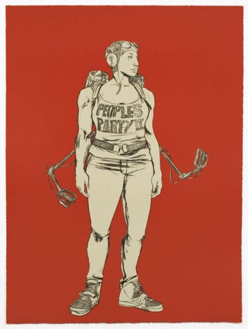 "Robert Pruitt, ""People's Party II"", 2014, two-color lithograph, edition of 20, paper size: 40"" x 30.13"""