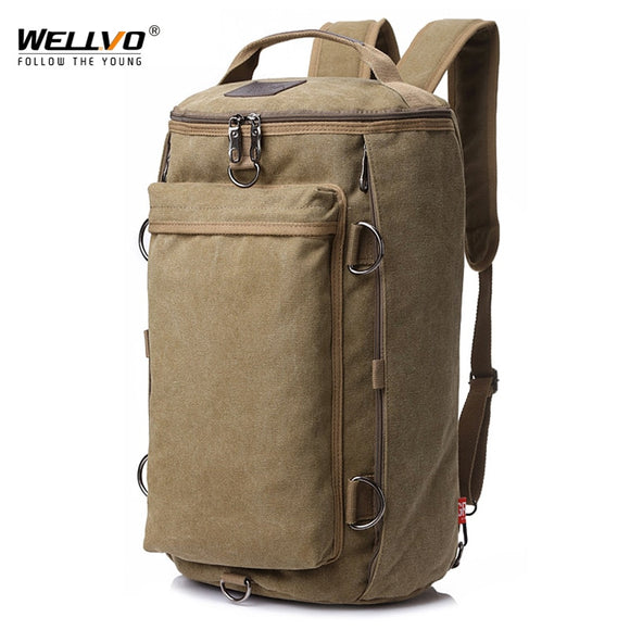 Vintage Men Travel Bag Large Capacity Travel Duffle Rucksack Male Carry on Luggage Storage Bucket Shoulder Bags for Trip XA86ZC