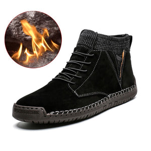 Brand Men Snow Boots Winter Plush Warm Men Motorcycle Boots