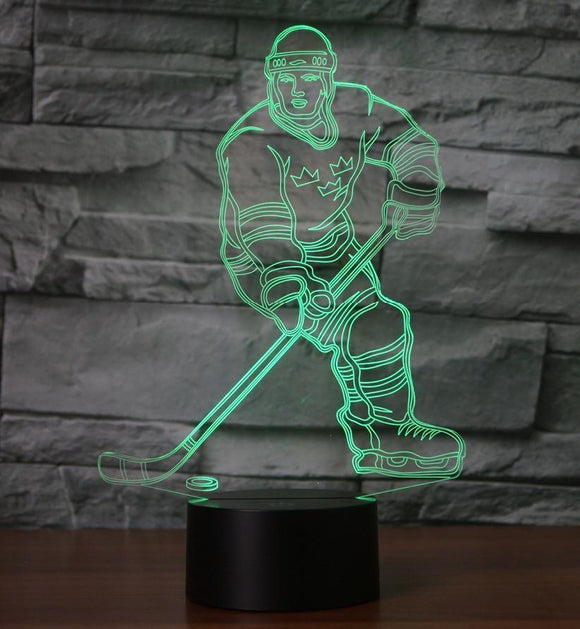3D ice Hockey Touch 7-color Table Lamp LED Illusion Night Light
