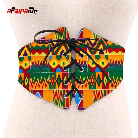 2019 African Print Waist Corset Belt Button Skirts for Women