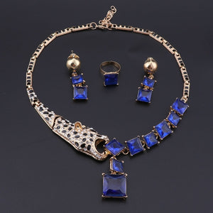Luxury Gold Color Blue Crystal Leopard Statement Necklace Earring Ring For Women Party Wedding Jewelry Sets