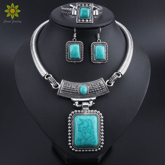 Fashion Turquoises Jewelry Set Rectangle Retro Ethnic Necklace Earrings Bracelet Sets Crystal Necklace Pendant Women's Elegant
